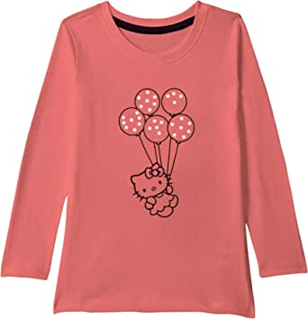 American-Elm Round Neck Multi-Coloured Full Sleeves Dolls and Ballons Printed T-Shirt for Girls | Kids All Age Printed T-Shirt for Girls