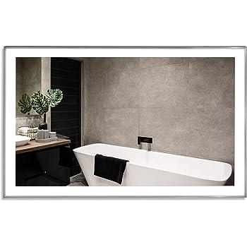 vasner zipris s led infrarotheizung spiegel mit licht 700 watt titan rahmen led beleuchtung. Black Bedroom Furniture Sets. Home Design Ideas