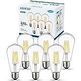 ANWIO 4W Ampoule Filament LED E27 ST64, 470Lm Equivalent à Ampoule Incandescente 40W, Lampe Rétro Edison de Verre Transparent