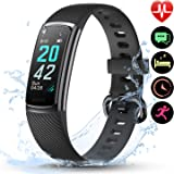 LETSCOM High-End Fitness Trackers HR, IP68 Waterproof Fitness Watch with Heart Rate Monitor, Step Counter, Sleep Monitor, Health Activity Tracker as Pedometer Watch for Kids Women Men