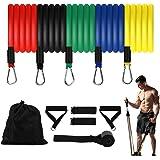 Sooair - Set di fasce elastiche di resistenza, con fasce elastiche per esercizi, maniglie, fissaggio per piedi, ancoraggio alla porta, borsa per la conservazione, per allenamento di forza, yoga, palestra a casa