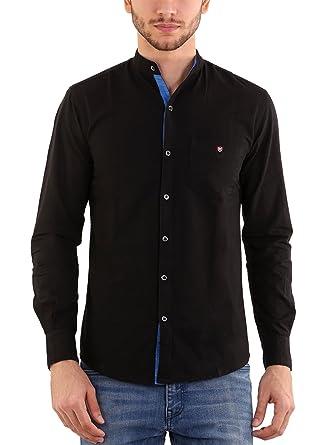 Rapphael men's cotton chinese collar plain Black color shirt(RPL ...
