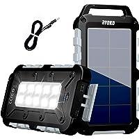 RYOKO Solar Powerbank 20000mAh,Schnellladung Solarladegerät mit 2 Ausgänge 2.1A,Power Bank Hohe Kapazität mit LED…