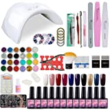 Kit Vernis Semi Permanent Saint-Acior Lampe LED 36W Manucure Soak Off Gel Polish Gel UV LED Vernis à Ongle Topcoat Basecoat Nail Art Pour Ongle Débutant Kit