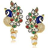 Sukkhi Glorious Pearl Gold Plated Wedding Jewellery Kundan Peacock Meenakari Dangle Earring for Women (6083EADP570)