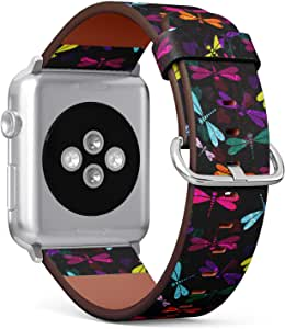 (Vintage Pattern with Colorful Dragonflies and Translucent) Patterned Leather Wristband Strap for Apple Watch Series 4321 gen,Replacement for