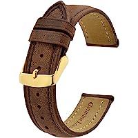 BISONSTRAP Bracelets de Montre Vintage avec Boucle en Or/Or Rose, Bracelet de Remplacement en Cuir 18mm 20mm 22mm