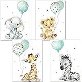 artpin® Affiche décorative pour chambre d'enfant - Tableaux chambre d'enfant vert-gris menthe pour Garçon filles - Safari Jun