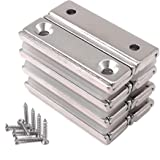 Magnetpro 8 pièces Aimants rectangulaires 20 KG force 40 x 13,5 x 5 mm avec trou fraisé et capsule, aimant en pot ménager et