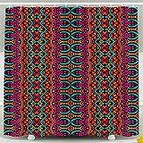 Auld-Shop Tenda per Doccia Tossica Camera Tenda Divisoria Tenda Etnica Tribale Modello Festivo Astratto Geometrico Colorato Tenda per Doccia