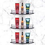 Plantex Premium Black Glass Corner Shelf for Bathroom/Kitchen Shelf/Bathroom Accessories(9x9 Inches - Pack of 3)