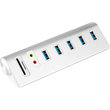 Cateck USB 3.0 5-Port Hub con Adattatore Audio Esterno e 2 Ingressi Card Reader Combinato ed Alimentatore Elettrico ad Alta Capacità 5V/4A per iMac, MacBook Air, Mac Pro ,MacBook Pro, MacBook, Mac Mini, PC e Portatili