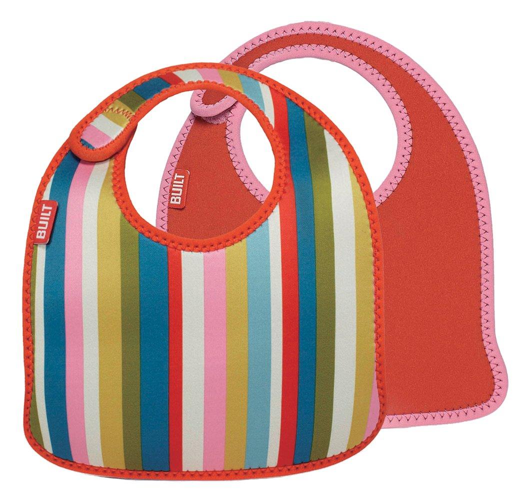 Built NY - Bavaglino per neonato a righe, set da 2 pz, colore: Rosa
