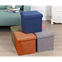 ALMAND Living Foldable Storage Bins Box Ottoman Bench Container Organizer with Cushion Seat Lid, Cube,Multi Colour…