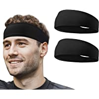 flintronic 2 PCS Elastic Sports Headbands for Men/Women - With Inner Grip Strip to Keep Headband Securely in Place…