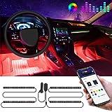 Govee Striscia LED Auto con APP, 4pcs 22cm Luci LED Interne per Auto con 9 Colori Multicolore Due linee Design, Musica sotto