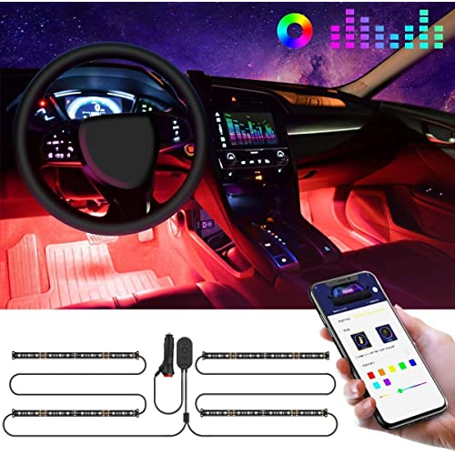 Govee Striscia LED Auto con APP, 4pcs 22CM Luci LED Interne per Auto con 9 Colori Multicolore Due linee Design Impermeabile, Musica sotto il cruscotto Kit di illuminazione, Controllo APP, DC 12V