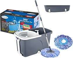 Primeway Pw709Me_Gr Exe Magic Mop on 2 wheels with 2 Microfibre Refills 38 cm, 7.5 L, Grey