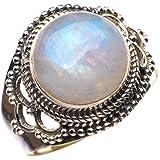 StarGems Natural Piedra de luna arcoíris Anillo de plata de ley 925 único hecho a mano 18 3/8 D4741