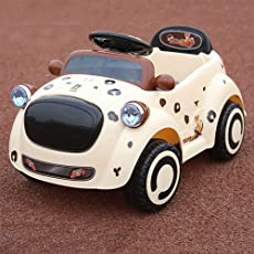 GoodLuck Baybee Kid's Battery Operated Ride on Motor Car, 2 - 4 Years (Brown, ESBO9888Br)