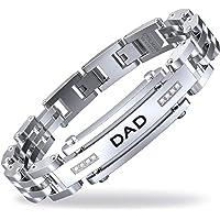 COOLMAN Bracelet Homme, Ajustable Reglable Acier Inoxydable Chaîne Bracelet pour Dad Papa Père Homme avec Un Boîte