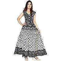 FrionKandy Women's A-Line Cotton Long Jaipuri Print Maxi Gown Dress_Free Size Upto 44 Inch (XXL) - Black