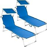 TecTake Lot de 2 chaise longue bain de soleil en aluminium pliable avec parasol pare soleil - diverses couleurs au choix - (Bleu   no. 401553)