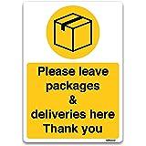 Laat alle leveringen hier ondertekenen, zelfklevende vinylsticker, postbode, koeriers, levering deur kennisgeving A4 297x210m