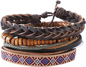 Bracelet,Man European Hot Retro Multilevel Cowhide Handmade Woven Bracelet