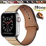 Qeei Lederen Bandje Compatible Met Apple Watch 44mm 42mm 40mm 38mm,Innovatief Verborgen Gespen Echt Lederen Horlogebanden Res