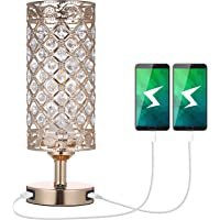 Tomshin-e Crystal Bedside Table Lamp with Dual USB Port,Modern Glitter Golden Lampshade E27 Base Bedroom Nightstand…