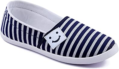 Asian shoes Amy-91 Blue White Women Canvas Shoes