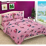 Fabture 180TC Pure Glace Cotton Double Bedsheet with 2 Pillow Cover (Flower Printed Bedsheet _ Pink)