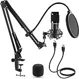 LIFEBEE Micrófono de Condensador, Profesional Estudio Micrófono Grabación Ajustable Suspensión Brazo de Tijera con Montaje de
