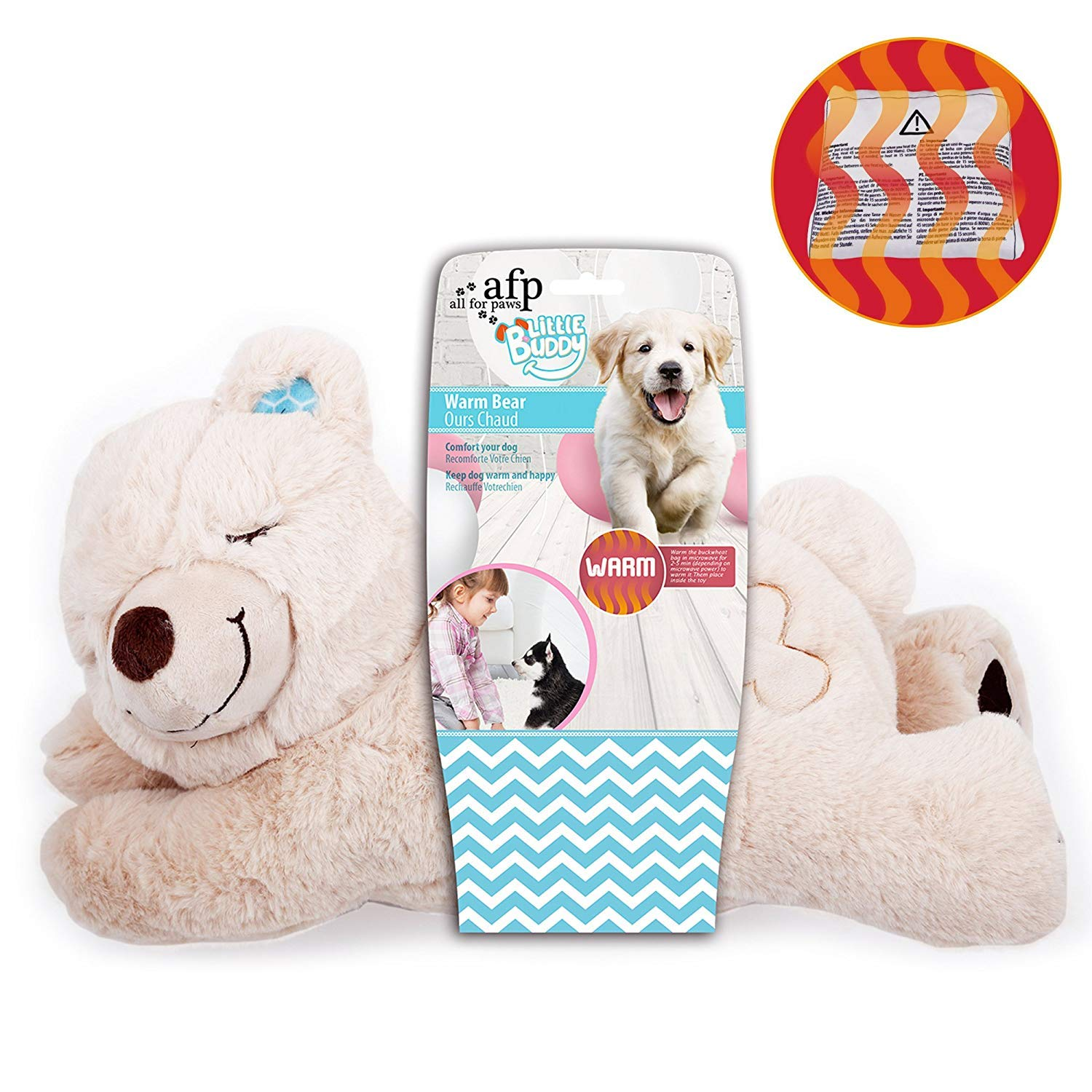 ALL FOR PAWS AFP Snuggle Sheep Pet Behavioral Aid Toy Warm Plush Toy Warm Bear ((No Heartbeat Only Warming Bag)