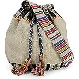 The House of Tara Grey Multicolour Handloom Fabric Women Boho Sling Bag (HTB 09_Multicolored)