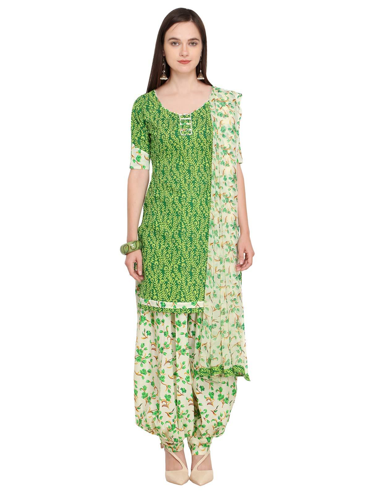 Kanchnar Women's Cotton Dress Material (498D3013_Green_Free Size)