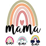 Bügelbild Regenbogen selbst gestalten Mama Namen Kinder Mom Damen Tshirt Mom shirt Wunschtext zum aufbügeln Kinder Tshirt büg