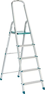 Amazon Brand – Solimo 5-Step Foldable Aluminum Ladder, rust proof and certified by European Standard EN 131