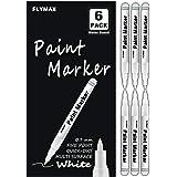 Lot de 6 marqueurs permanents blancs en acrylique de 0,7 mm pour bois, roche, plastique, cuir, verre, pierre, métal, toile, c