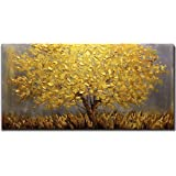 Framed oil painting,Hand Painted Modern Abstract Textured Big wall Paintings Home decoration art,Lucky golden tree. (100 X 50