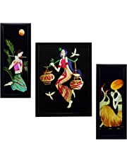 Indianara Still Rectangular Synthetic Wood Art Painting (35 cm x 28 cm x 3 cm, Set of 3)