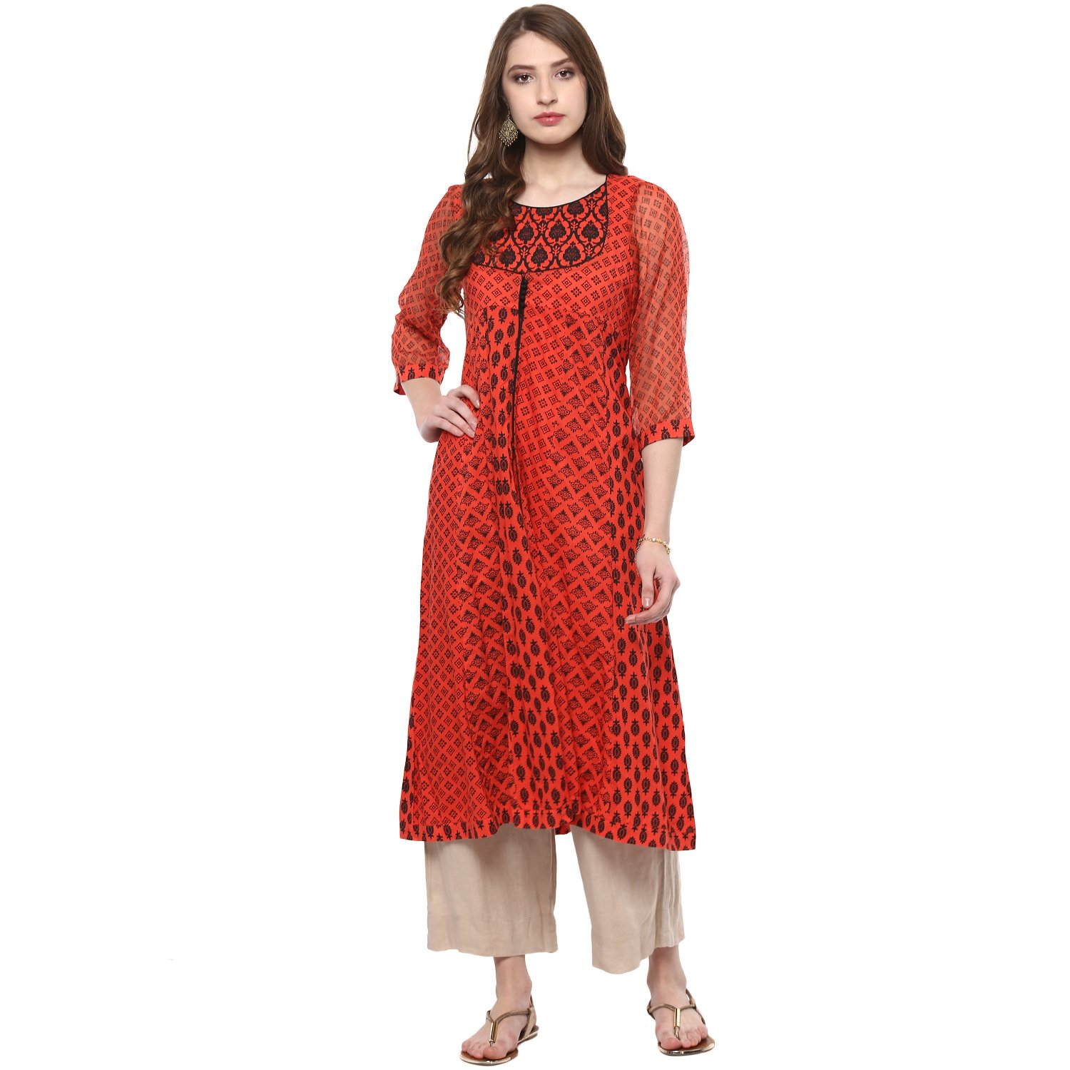 75cda03e643 Vedic Womens Cotton Kurti with Front Slit  Amazon.in  Clothing   Accessories