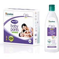 Himalaya Total Care Baby Pants Diapers, Small, 80 Count & Himalaya Baby Massage Oil (200ml)