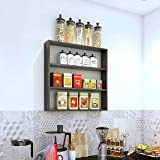 SWINGZY Furnifry Wooden Wall Mounted Kitchen Storage Rack Shelves for Kitchen, Home (24x24 Inches, Wenge)