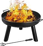femor Feuerschale Ø60cm mit Griffen, Abnehmbar Metall Feuerkorb mit Feuergabel, Terrasse Garten Multifunktional Fire Pit…
