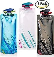 FLYING_WE Unisex Adult 700ML Faltbare Set von 3 mit CE, ROHS Zertifikate, Zusammenklappbare Flexible Wiederverwendbare Wasserflasche zum Wandern, Abenteuer, Reisen