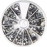 Rayher Hobby 38643606 Hotfix Metall-Nieten, silber, 2,5-10 mm, Formenmix, 12 Formen, selbstklebende Bügelnieten in runder Sor