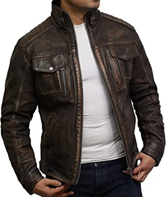 BRANDSLOCK Mens Distressed Genuine Leather Biker Jacket Vintage