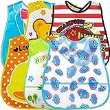 Baby haklapp, ZoneYan 6 stycken vattentäta haklappar, vattentäta haklappar med ficka, kan tvättas av ärmen, unisex baby-hakla